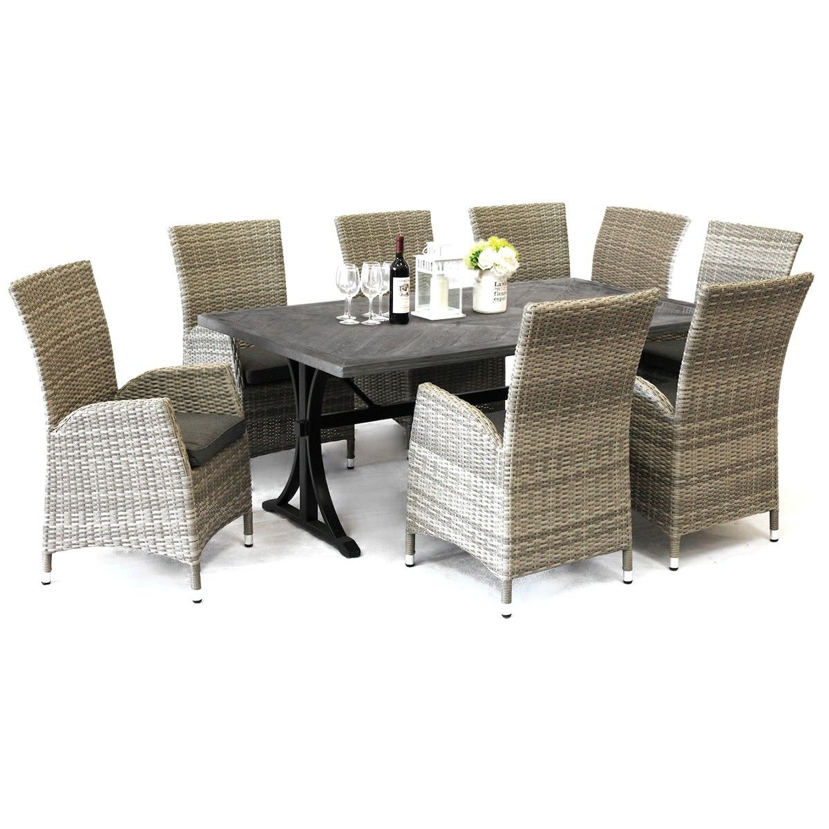 Sorrento 9 Piece Outdoor Dining Table Set, 220cm, Grey
