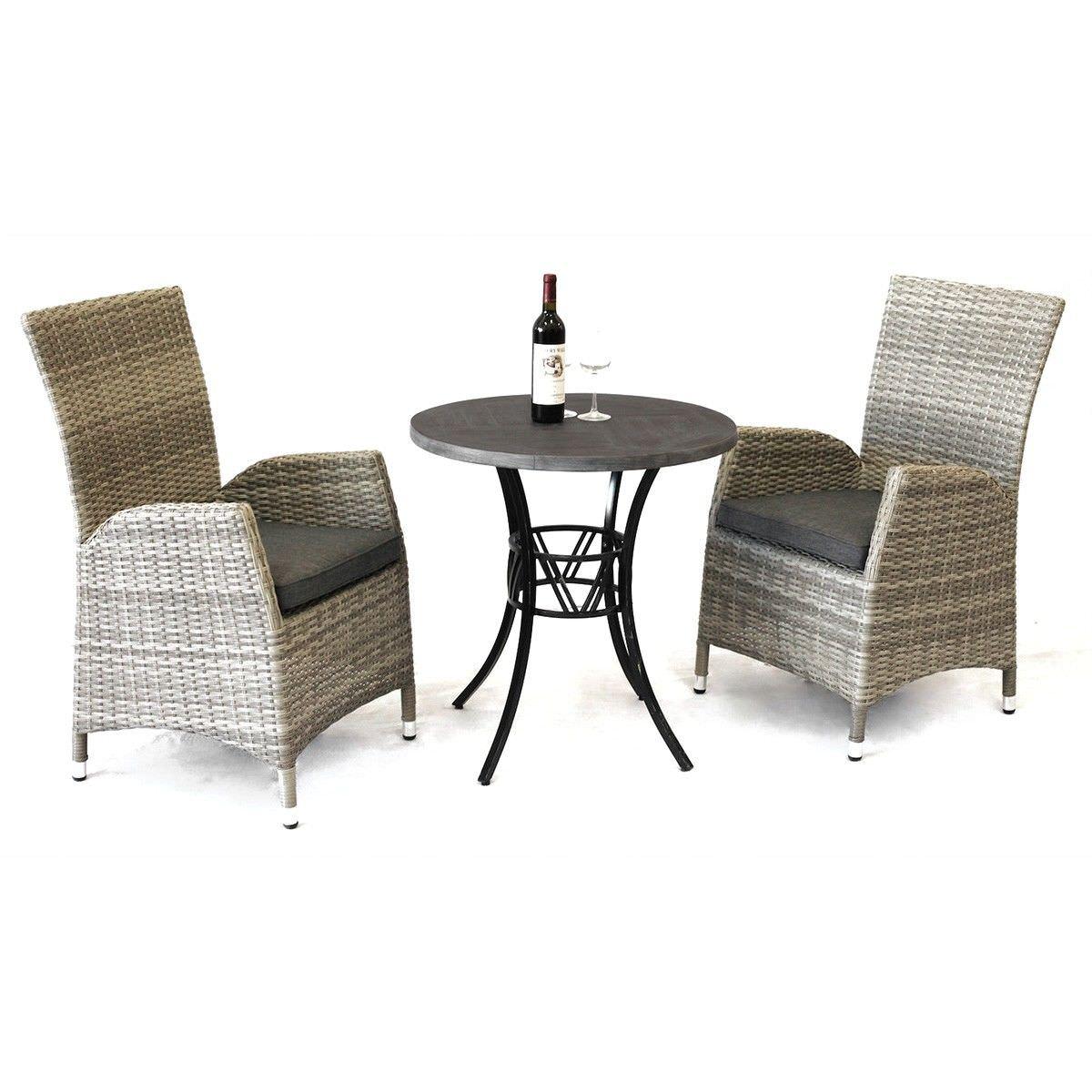 Sorrento 3 Piece Outdoor Round Dining Table Set, 70cm, Grey