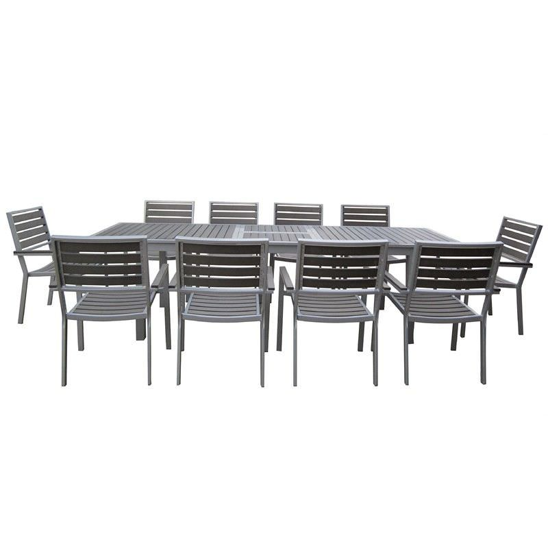Florence 11 Piece Dining Set with Silver Frame and Charcoal Slats