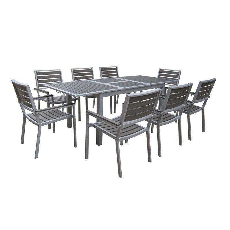 Florence 9 Piece Dining Set with Silver Frame and Charcoal Slats