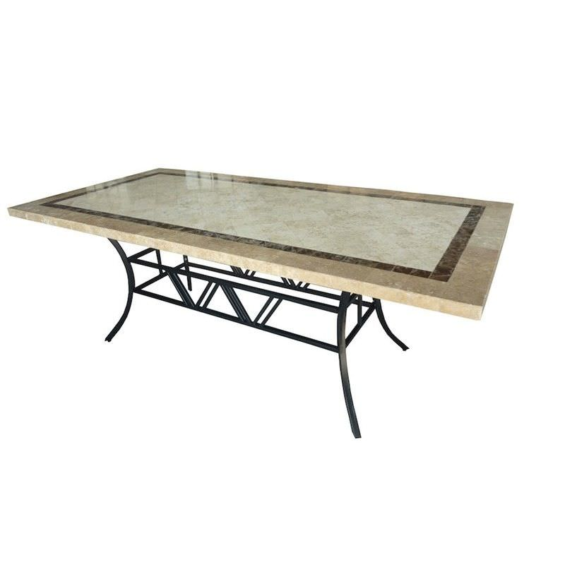 Beck Natural Stone Outdoor Dining Table, 210cm