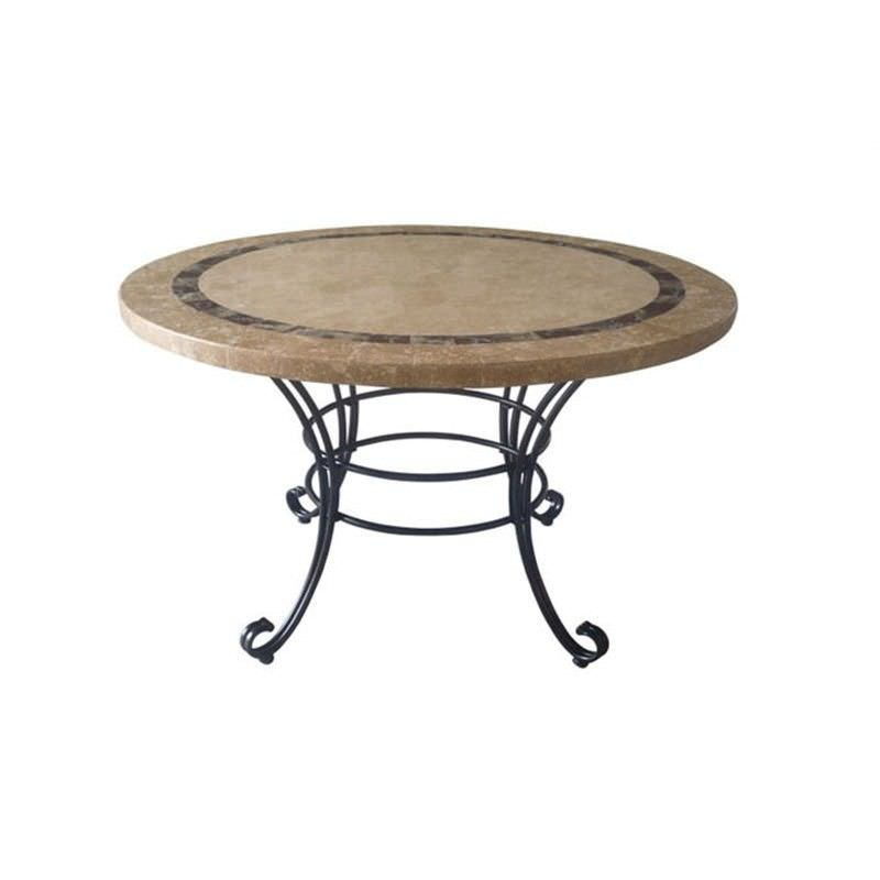 Beck Natural Stone Outdoor Round Dining Table, 122cm