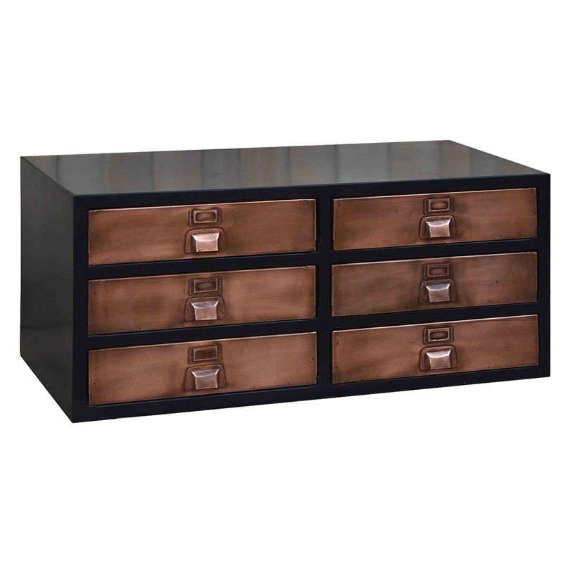 Industrial 6 Drawer Coffee Table: Vinton Industrial Metal File Drawer Coffee Table