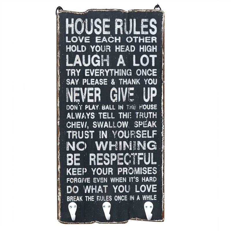 """""""House Rules"""" Timber Wall Panel with Hooks"""
