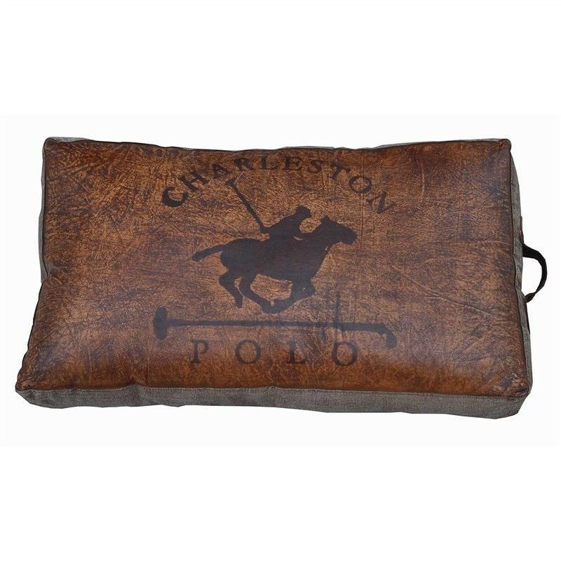 Charleston Polo Leather and Canvas Rectangular Floor Cushion