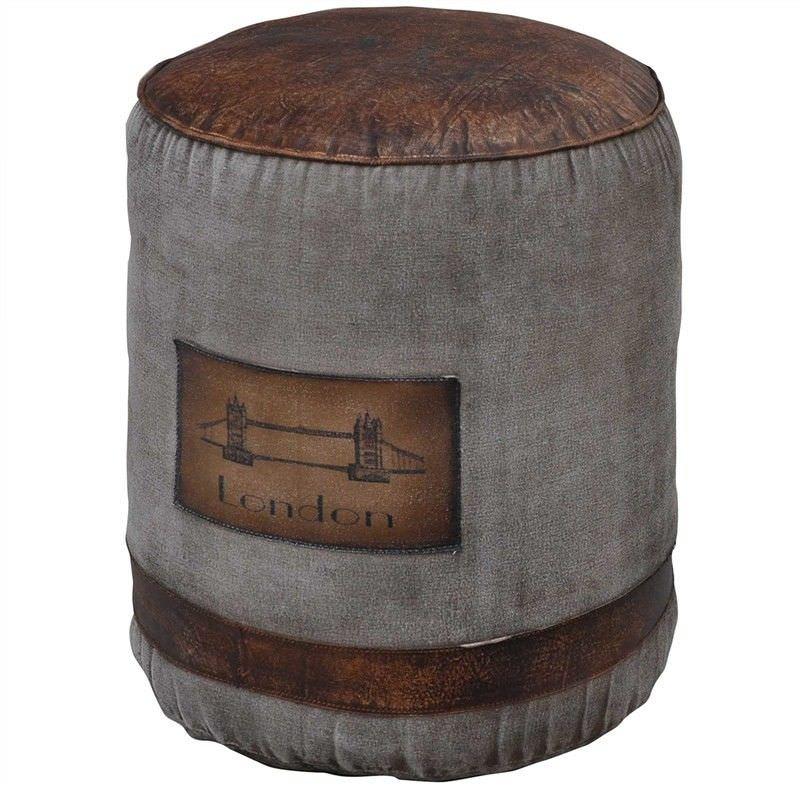 Milton London Leather and Canvas Round Ottoman