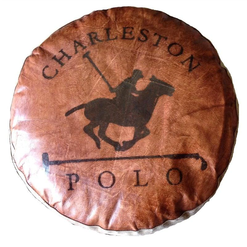 Charleston Polo Leather and Canvas Round Floor Cushion