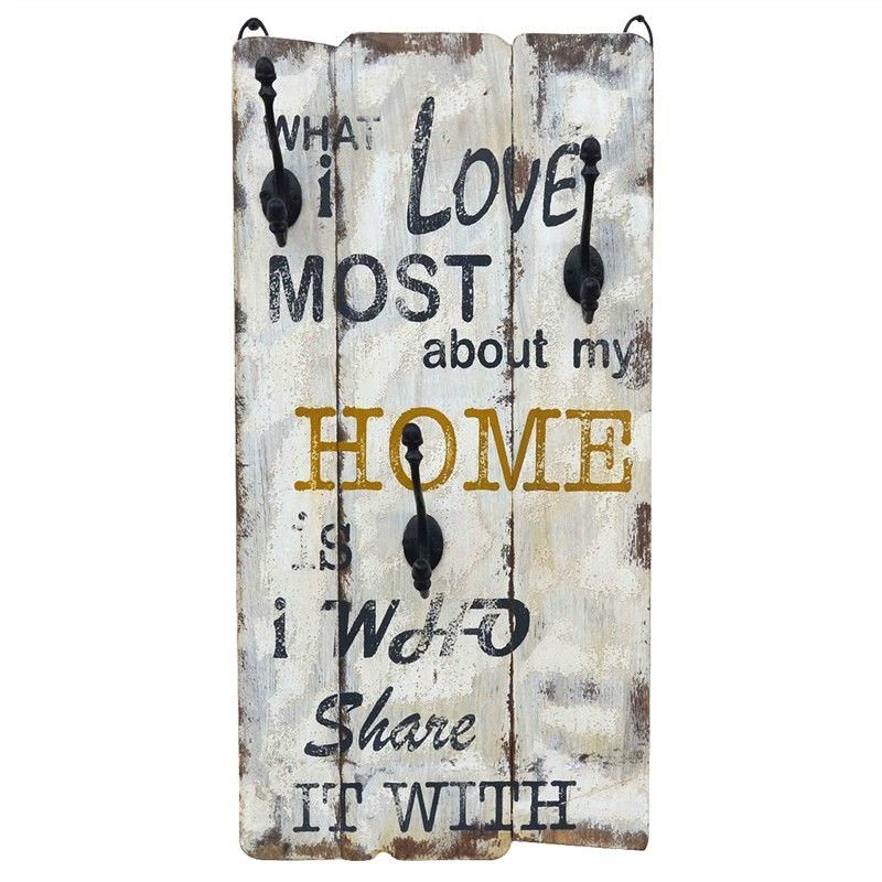 """""""Home"""" Timber Wall Panel with Hooks"""