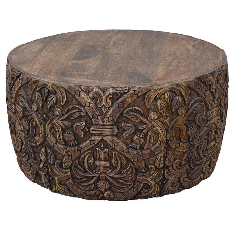 Solid Wood Curved Coffee Table: Romer Carved Solid Mango Wood Timber Round Coffee Table