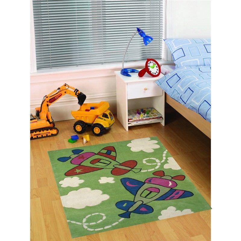 Designer Kids Wool Rug - K126 - Green - 110x160