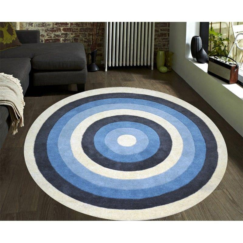 K131 Handwoven 100% Wool Round Rug in Blue - 160x160cm