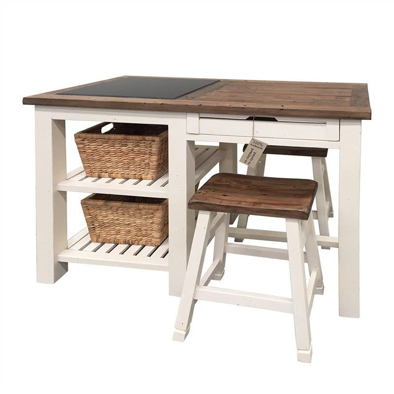White Haven Solid Pine Timber Kitchen Island with Stools and Baskets