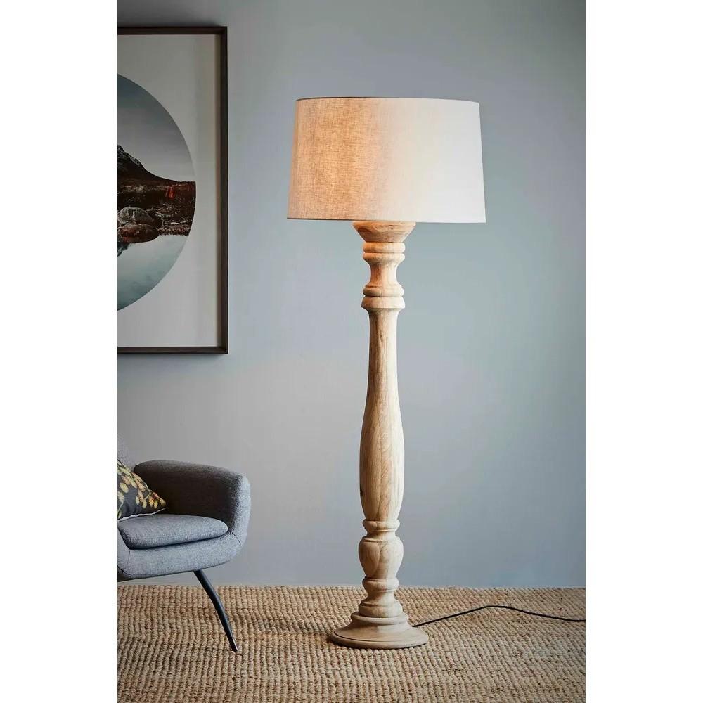 Candela Timber Pillar Base Floor Lamp, Natural