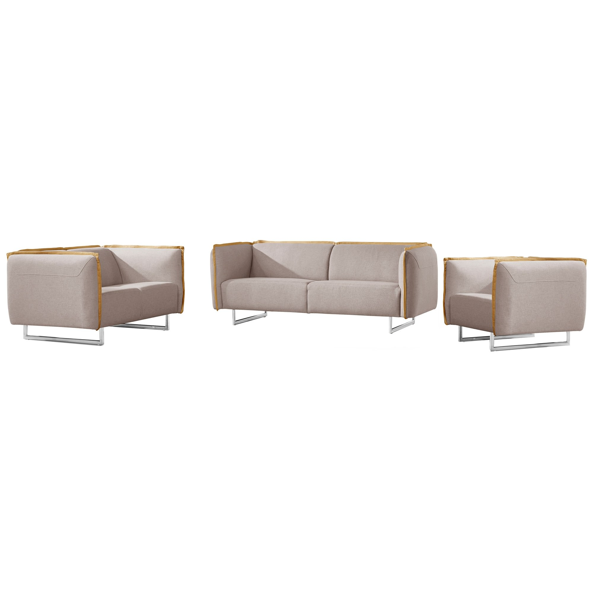 Peyton 3 Piece Fabric Sofa Set, 3+2+1 Seater, Light Grey