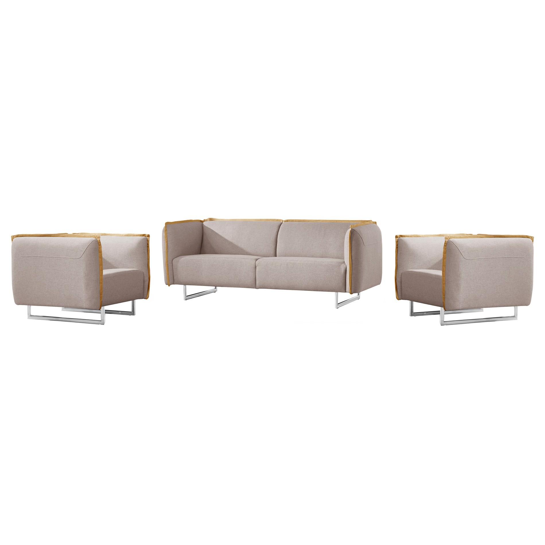 Peyton 3 Piece Fabric Sofa Set, 3+1+1 Seater, Light Grey