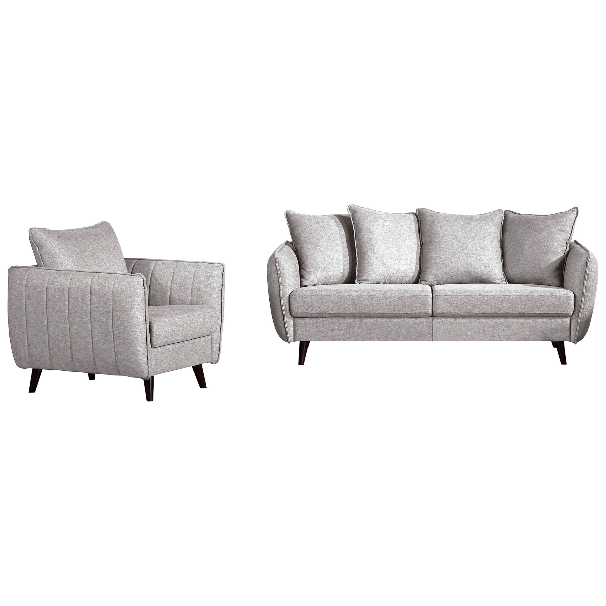 Zaria 2 Piece Fabric Lounge Set, 3+1 Seater, Grey