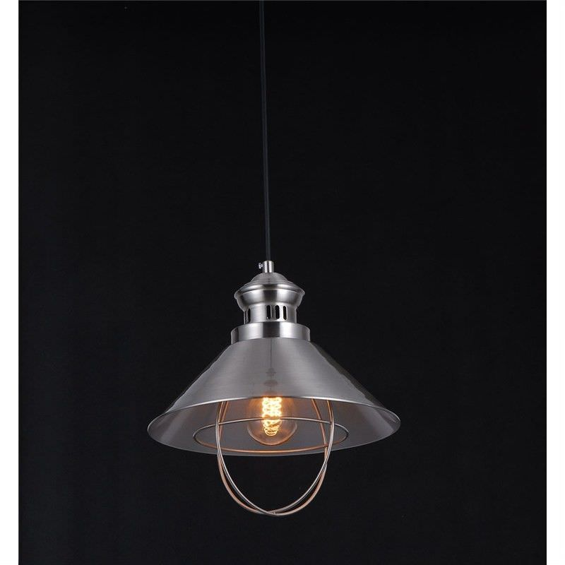 Vintage Hat Shade Pendant Light with Edison Style Light Bulb in Satin Nickle