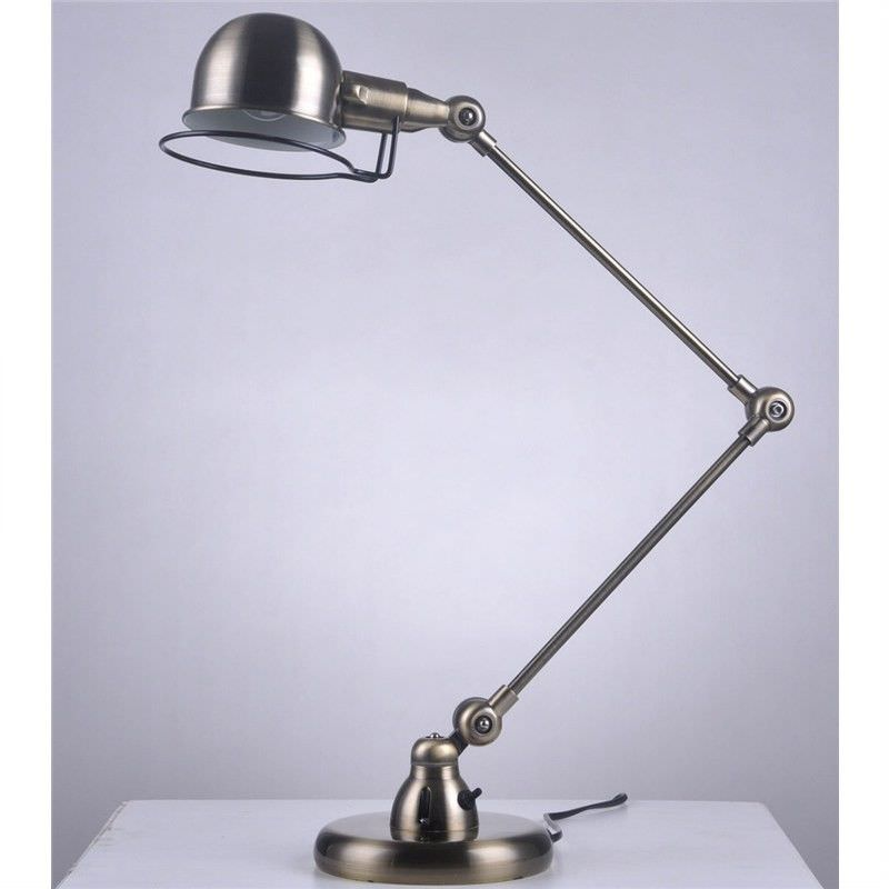 Vintage Stainless Steel Table Lamp in Antique Brass