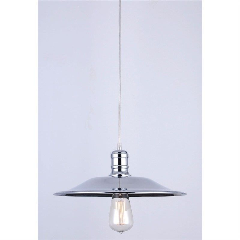 Vintage Industrial Dish Shade Pendant Light with Edison Style Light Bulb - Large