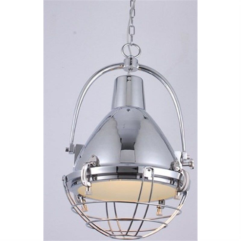 Vintage Stainless Steel European Pendant Light with Hand Holder in Chrome