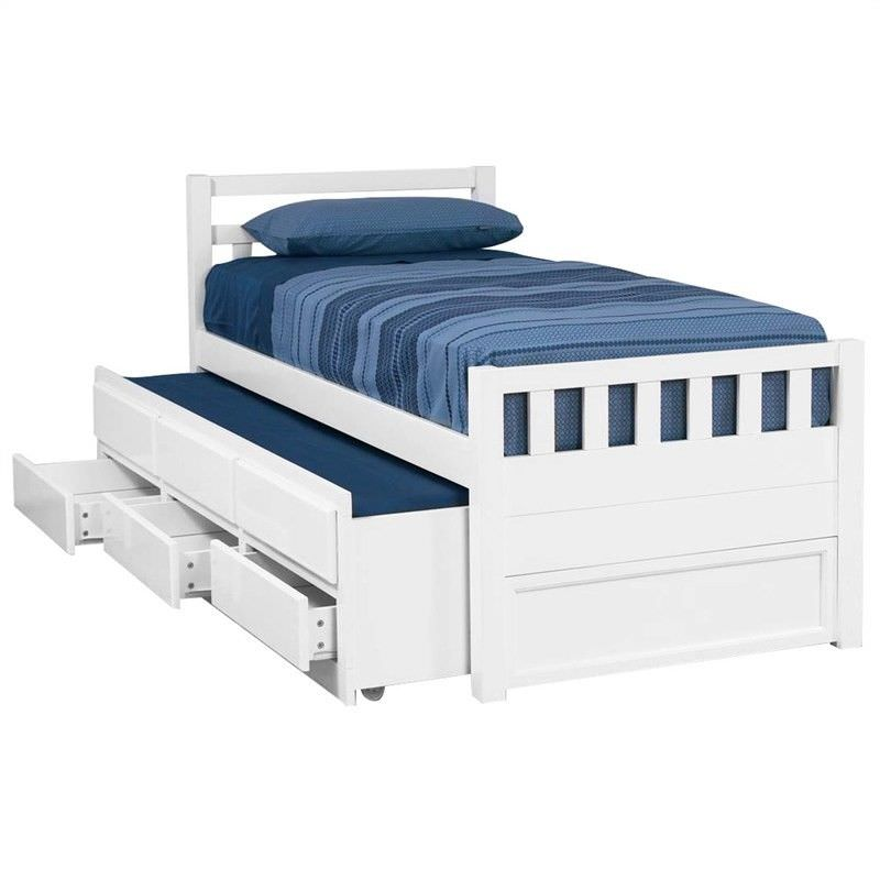 Kruz Wooden Captain Bed with Trundle & Storage Drawers, King Single, Arctic White