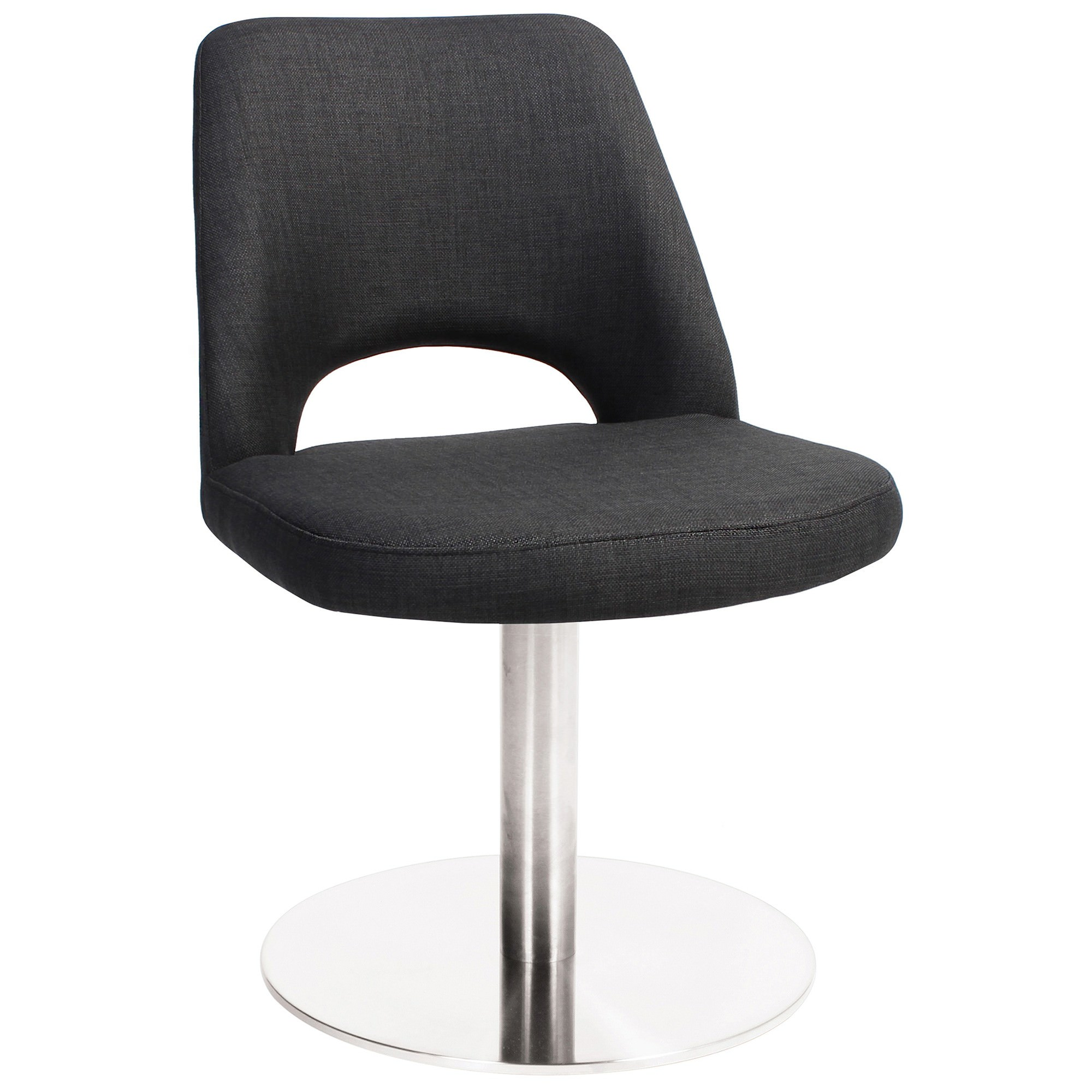 Albury Commercial Grade Fabric Dining Stool, Metal Disc Base, Charcoal / Silver