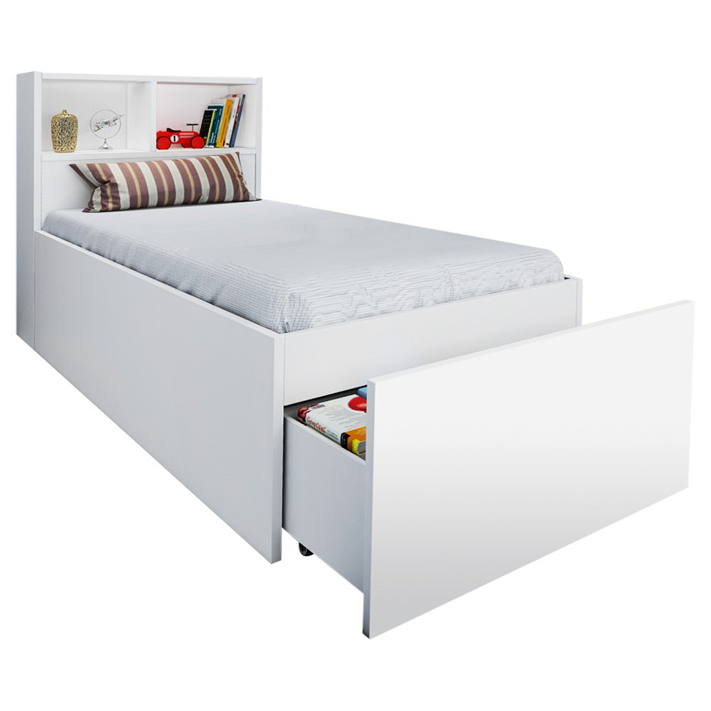Kensington Bookend Gas Lift Bed with End Drawer, Single