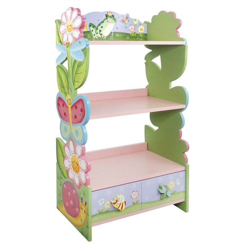 Teamson Fantasy Fields Magic Garden Kids Bookshelf with Drawer