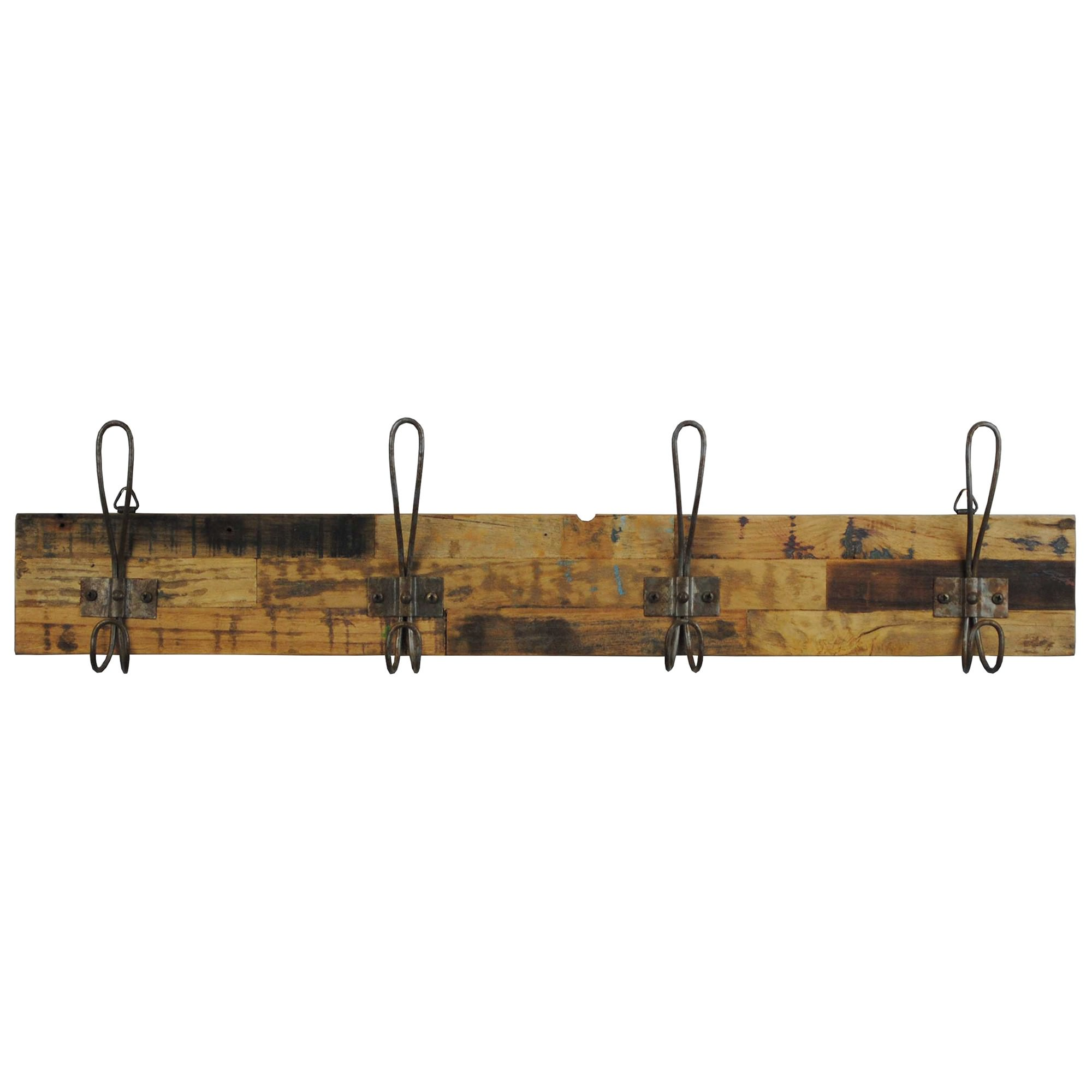Perin Recycled Teak Timber & Metal Hanger, 4 Hook, Rustic Charcoal / Sandblasted Natural