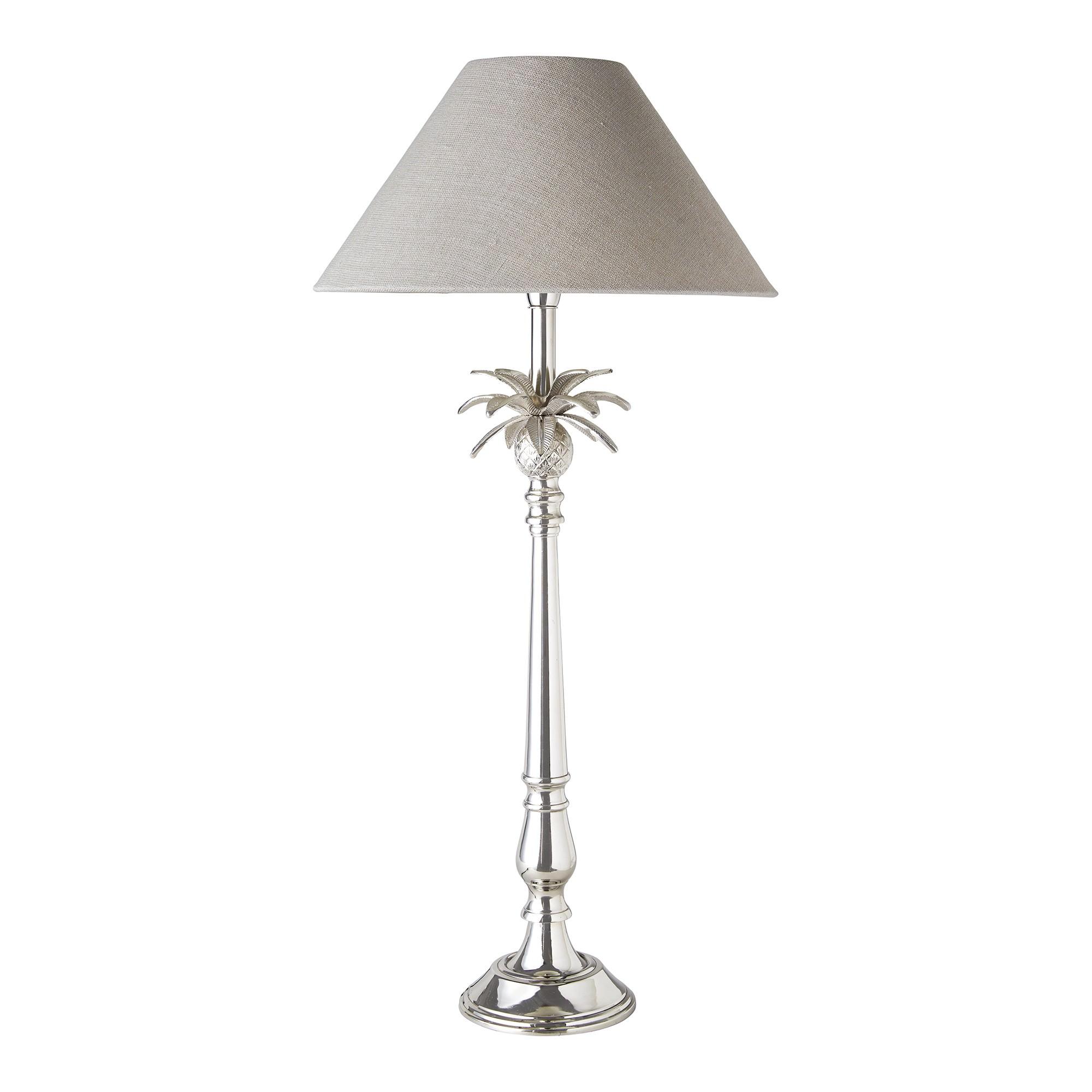 Milton Metal Base Table Lamp, Nickel / Beige