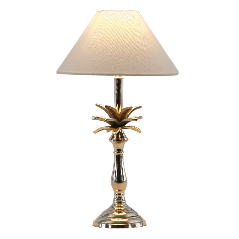 Clifford Metal Base Table Lamp, Nickel / White