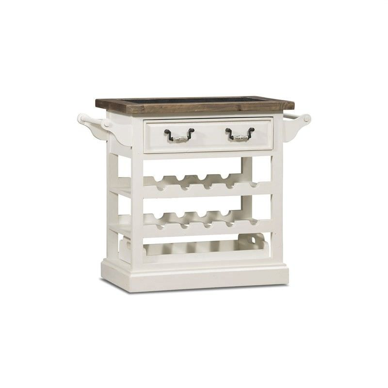 White Haven Solid Pine Timber Tray Top Drink Side Table with Wine Rack