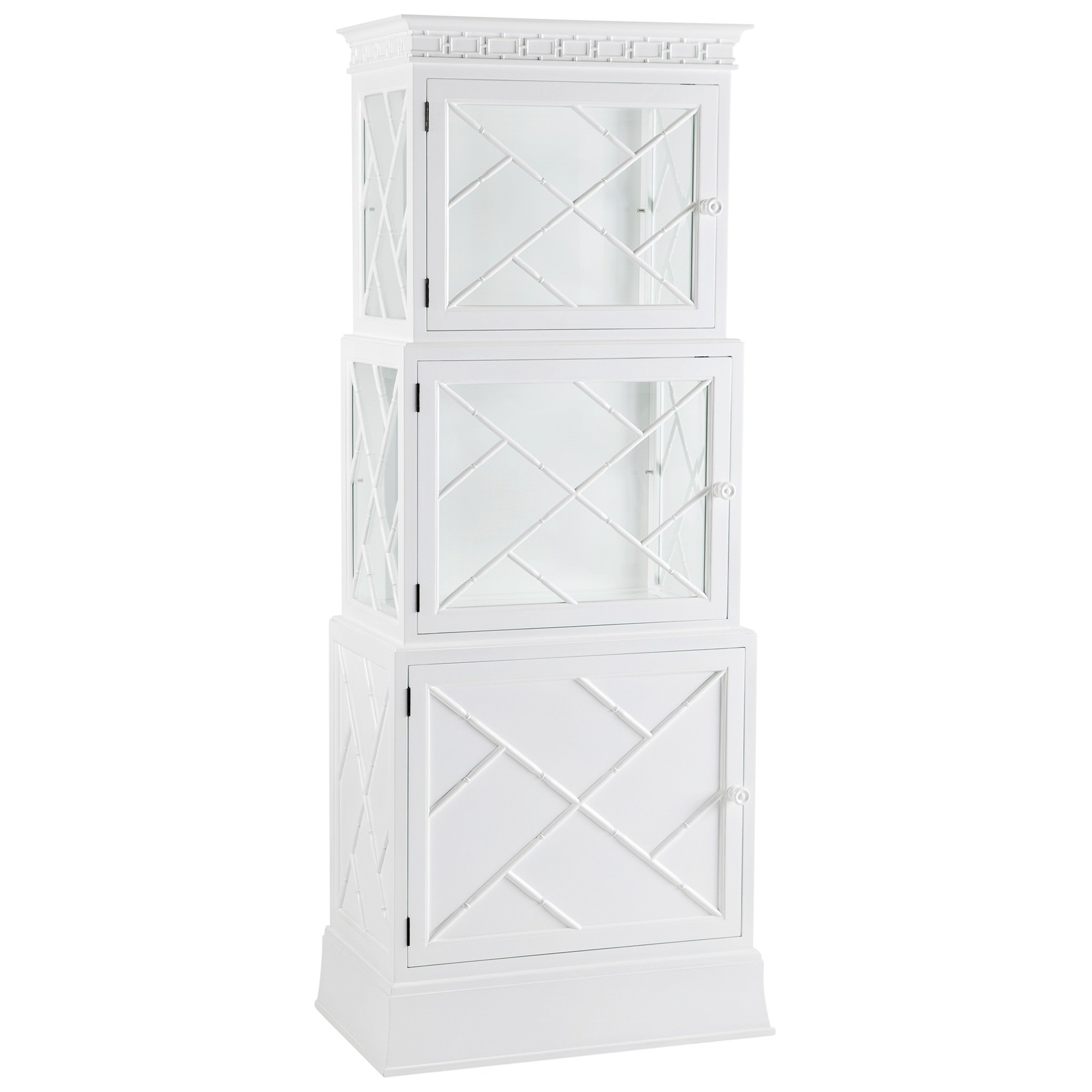 La Fayette Mahogany Timber Display Cabinet, White