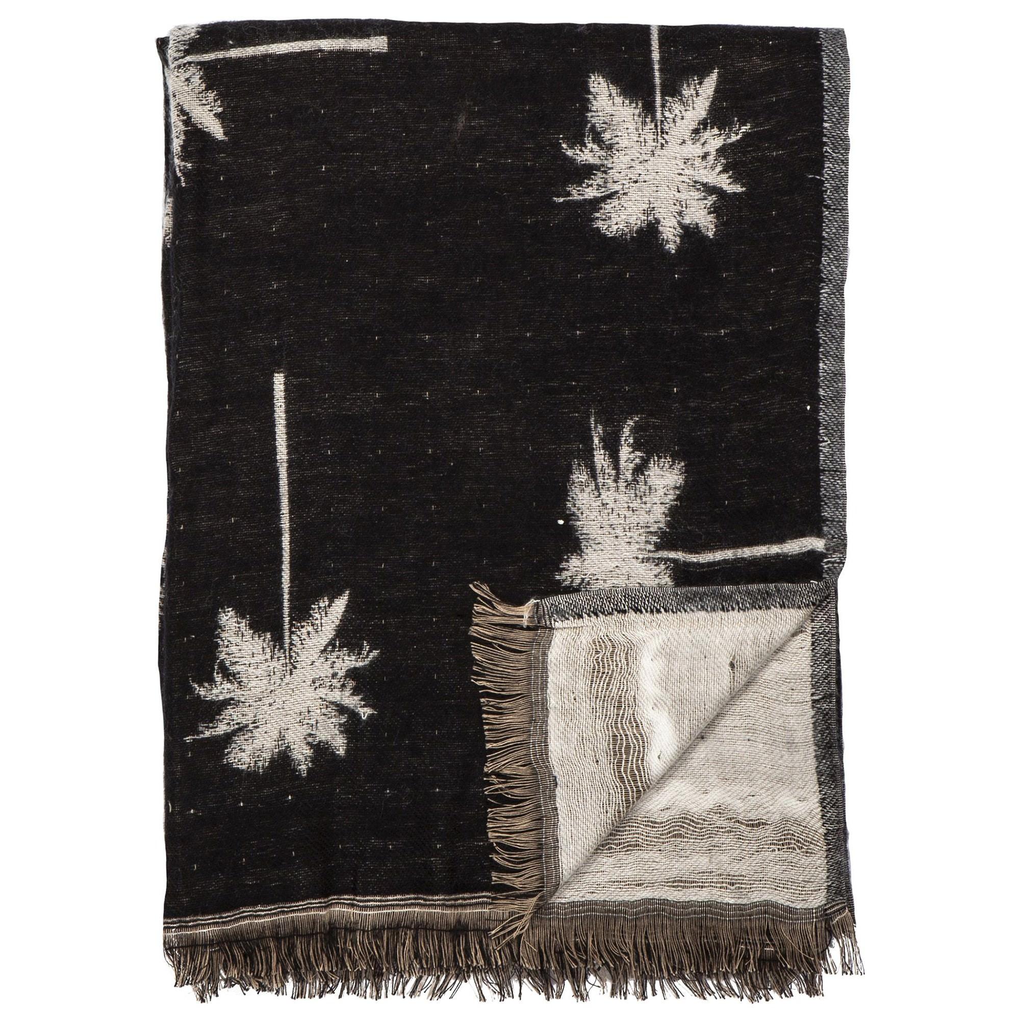 Palm Cotton Throw, 150x125cm, Black