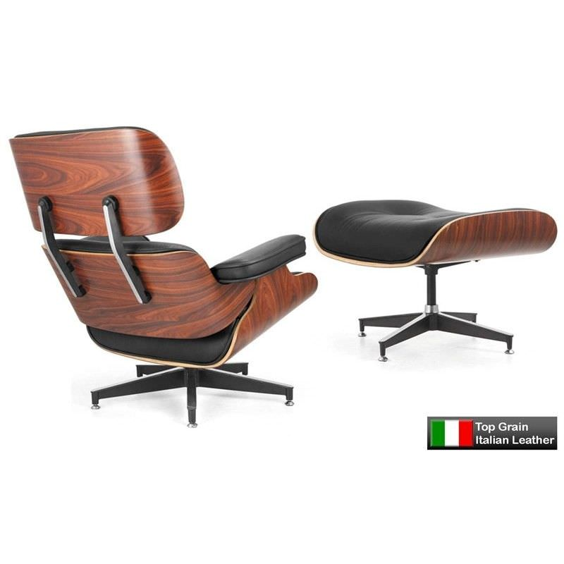 Eames Lounge Chair and Ottoman Replica - Black - Premium Italian Leather