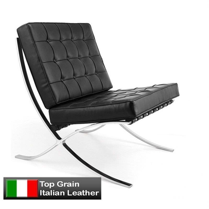 Barcelona Chair in Black - Premium Leather Replica