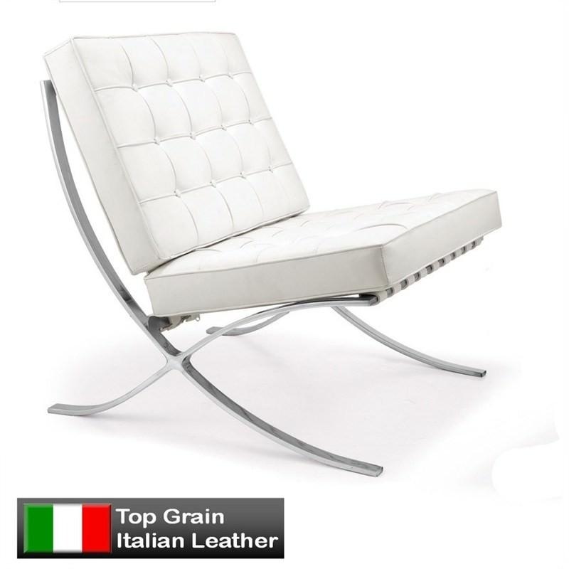Replica Premium Italian Leather Barcelona Chair - White