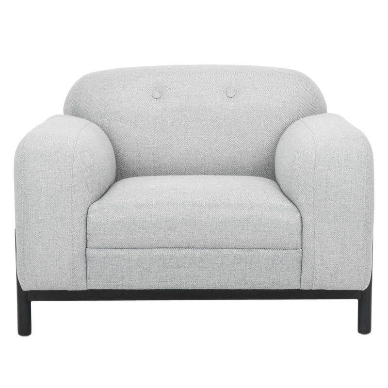 Cal Fabric Lounge Armchair, Light Grey