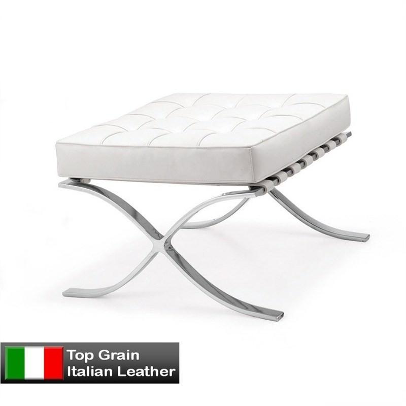 Barcelona Ottoman in White - Premium Leather Replica