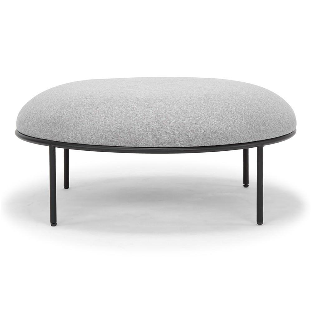 Rolston Fabric Round Ottoman / Footstool, Grey