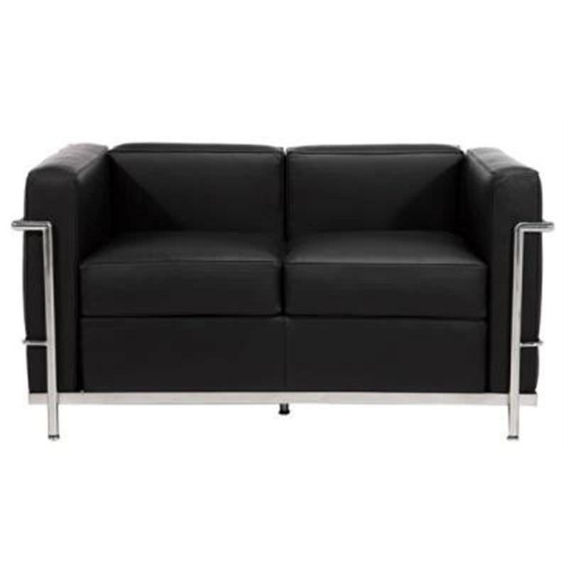 Le Corbusier Inspired 2 Seater Sofa - Black