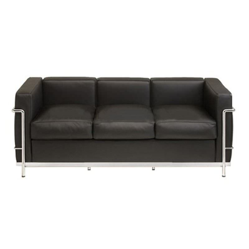 Le Corbusier Inspired 3 Seater Sofa - Black