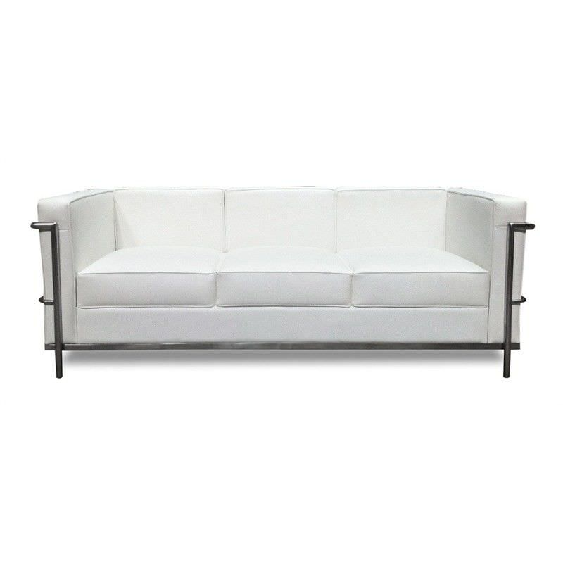Le Corbusier Inspired 3 Seater Sofa - White