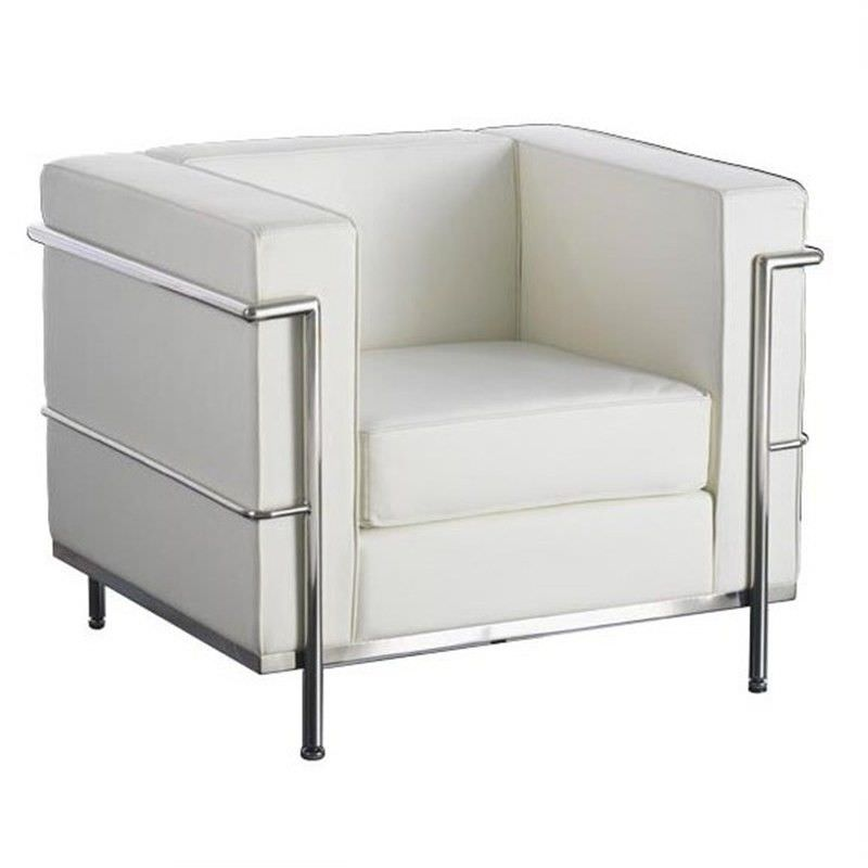 Le Corbusier Inspired Arm Chair - White