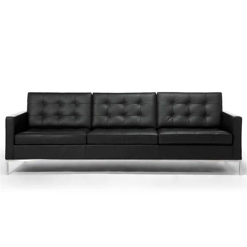Replica Florence Knoll 3 Seater Arm Chair - Black