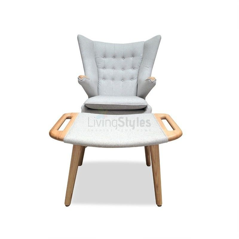 Replica Hans Wegner Fabric Papa Bear Chair with Ottoman, Grey