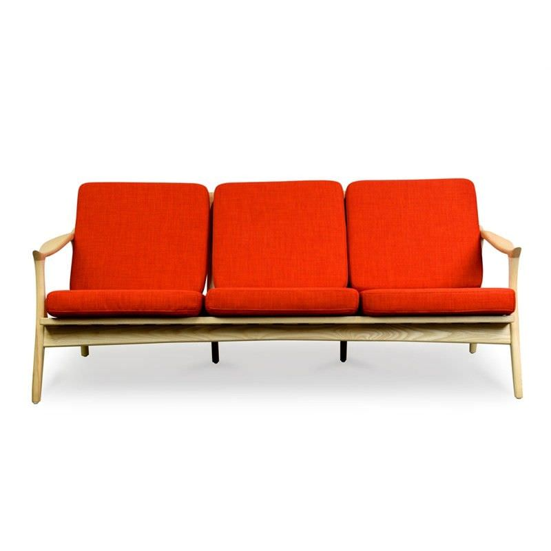 Lyan Retro Solid Ashwood Timber 3 Seater Sofa with Fabric Cushions - Red