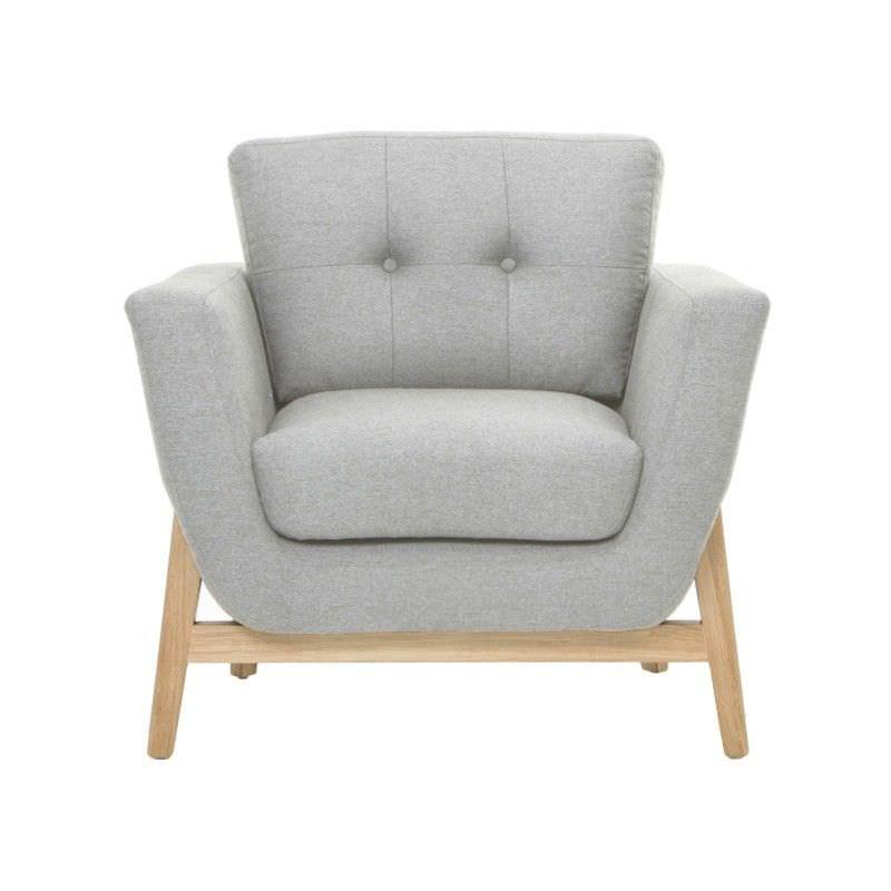 Hansel Fabric Upholstered Oak Timber Armchair - Stone Grey