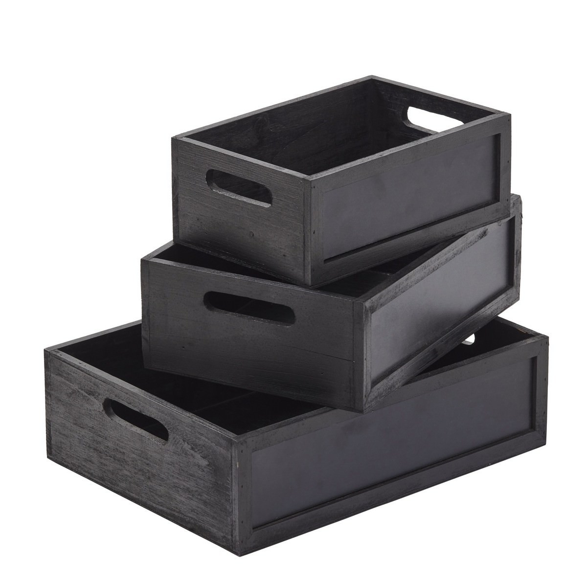 Han 3 Piece Handmade Blackboard Box Set, Black