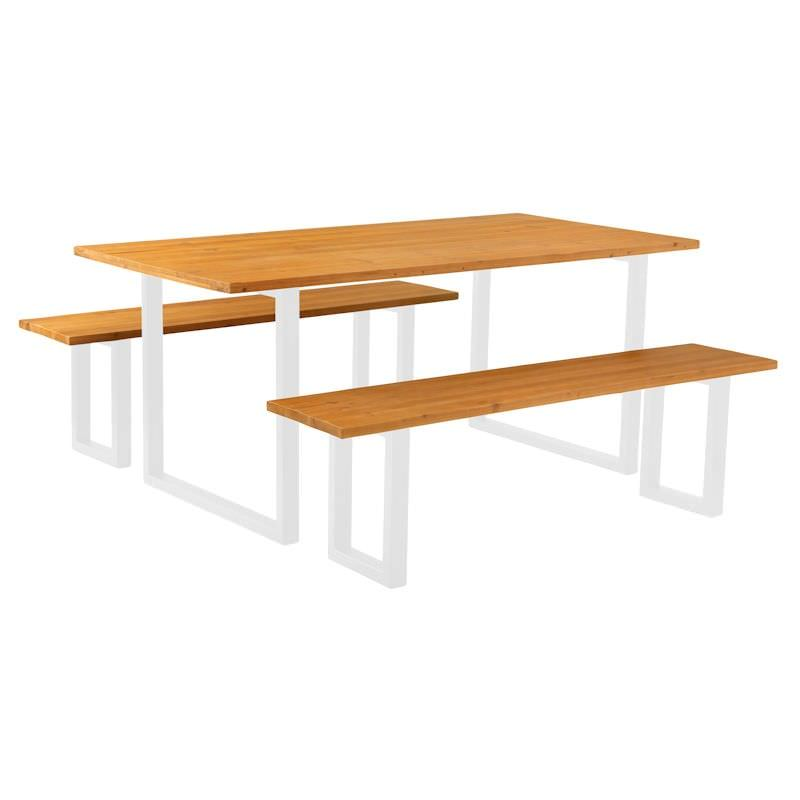 Compton 3 Piece Timber & Metal Dining Table & Bench Set, 180cm, Natural / White
